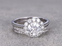 Flower Moissanite Wedding Ring Set Diamond Curved Matching ...