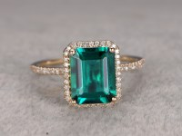 2.6 carat Emerald Diamond Engagement Ring Yellow Gold Halo ...