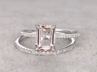 Morganite Engagement Ring White Gold Diamond Bridal Set ...