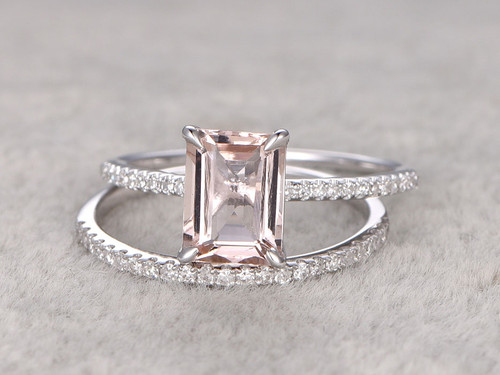 Morganite Engagement Ring White Gold Diamond Bridal Set 7x9mm Emerald Cut Thin Pave Stacking