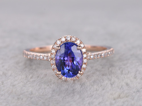 Tanzanite And Diamond Engagement Ring Rose Gold 1 2 Carat Oval Halo Promise Stacking Band 14k