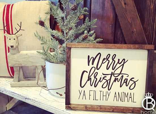 personalized kitchen sign modern table merry christmas ya filthy animal wood - queenbhome
