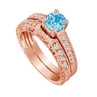 Blue Topaz Engagement Ring Set Rose Gold, Diamond Bridal