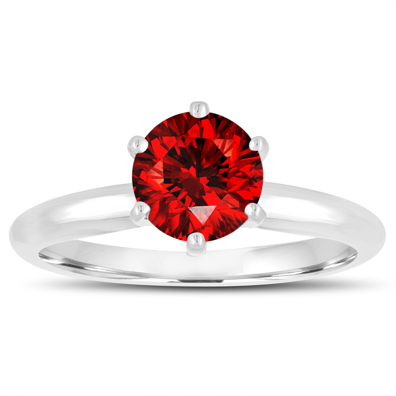 070 Carat Fancy Red Diamond Solitaire Engagement Ring 14K