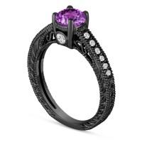 0.70 Carat Purple Amethyst Engagement Ring, Wedding Ring ...