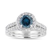 1.84 Carat Blue Diamond Engagement Ring Set, Bridal