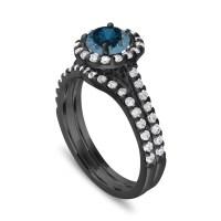 Blue Diamond Engagement Ring Set, Wedding Ring Set ...
