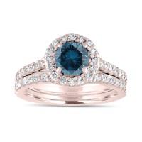 1.84 Carat Fancy Blue Diamond Engagement Ring Set, Bridal ...