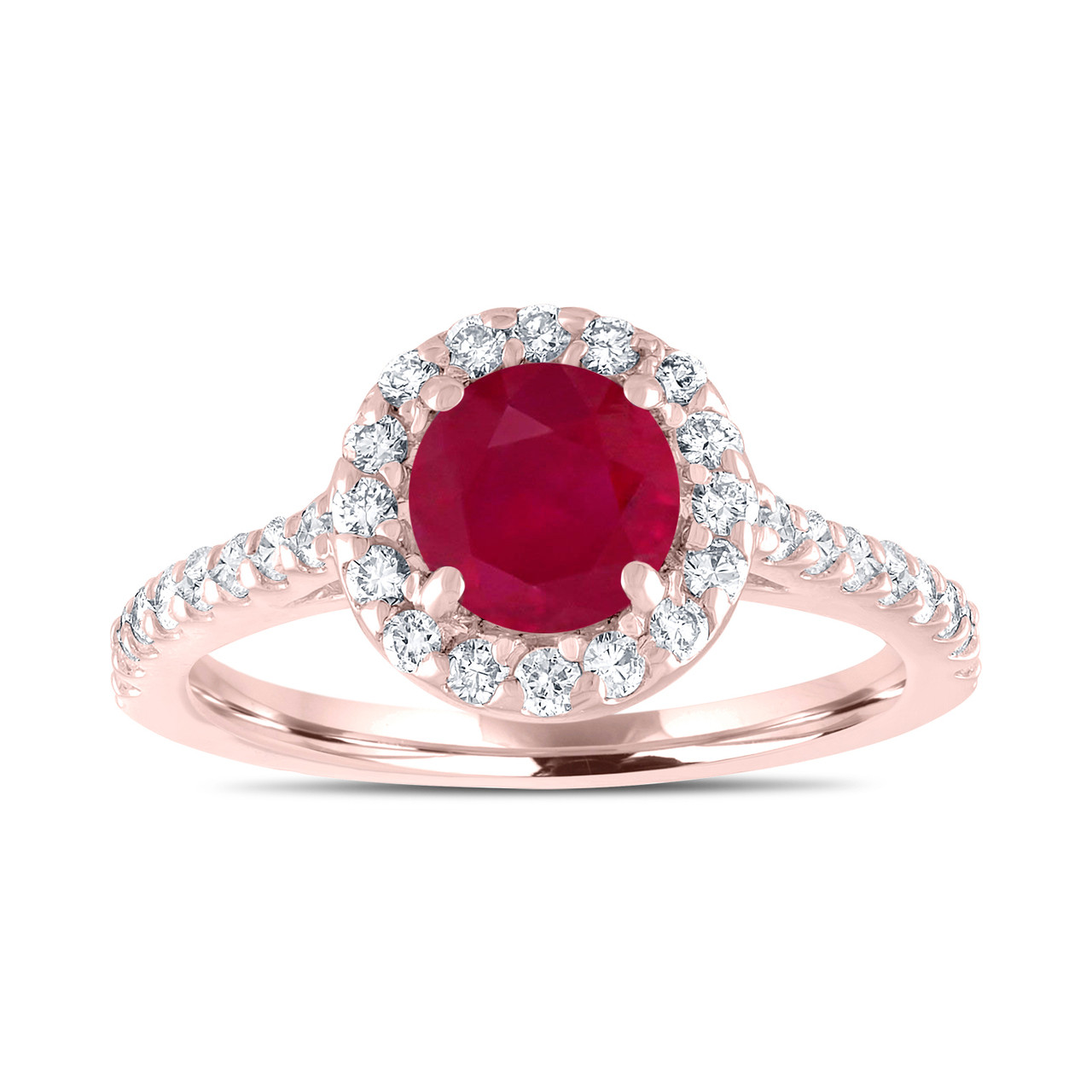 Ruby Engagement Ring With Diamonds Bridal Ring Red Ruby
