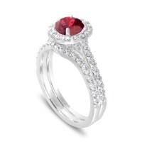 2 Carat Garnet Engagement Ring Set, With Diamonds Bridal ...