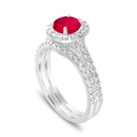 Ruby Engagement Ring Set, With Diamonds Bridal Ring Sets