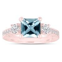 Princess Cut Aquamarine Engagement Ring, Rose Gold Diamond ...