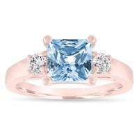 Aquamarine Engagement Ring Rose Gold, Princess Cut ...