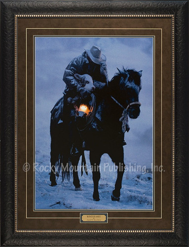 Winter Save  David Stoecklein Print of Cowboy Carrying a