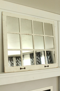Farmhouse Windowpane Mirror  12 Panes  Whitewashed