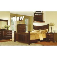 Rustic Espresso King Log Bedroom Set
