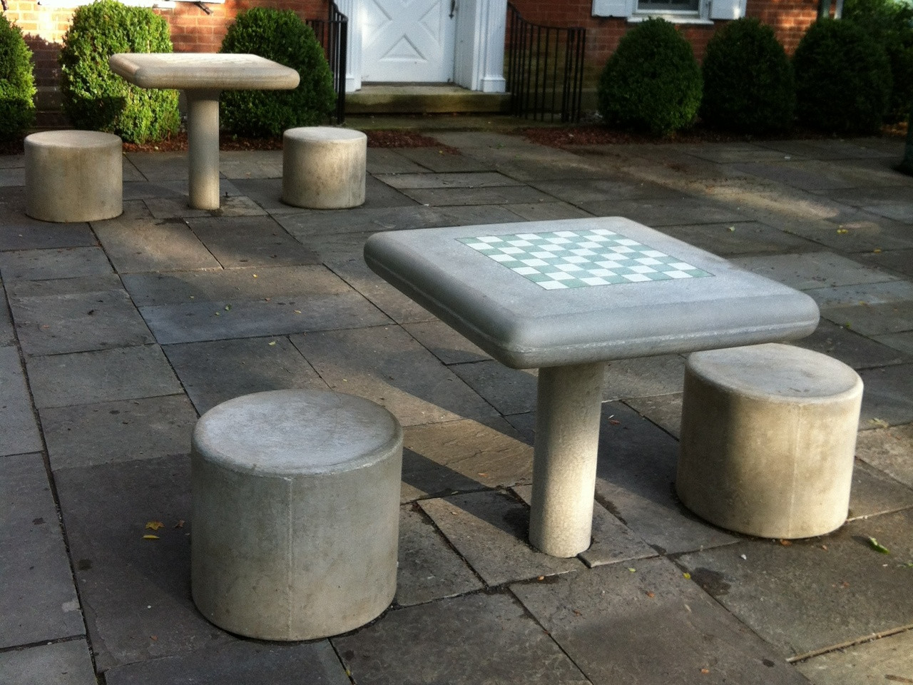 Concrete Fixed Chess Table And Stool Set - Kenneth Lynch