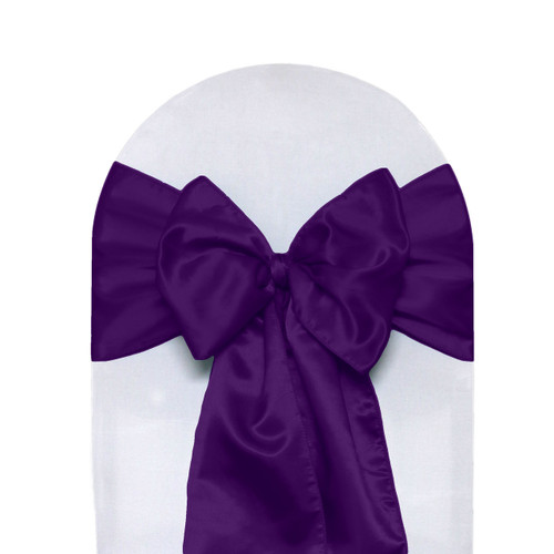 Satin Sashes Purple Pack of 10  Your Chair Covers Inc