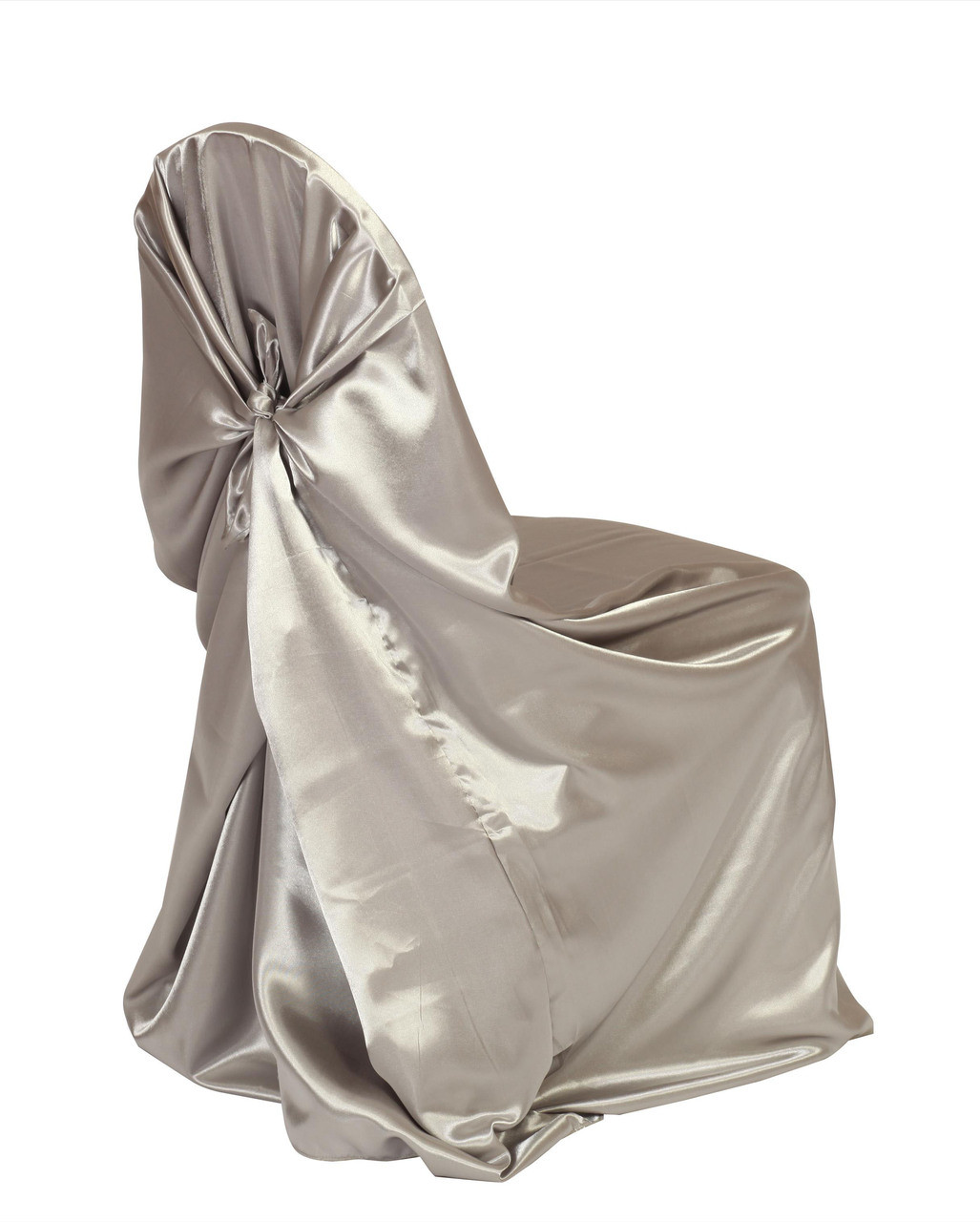 chair covers universal burgundy dining chairs uk satin self tie cover dark silver