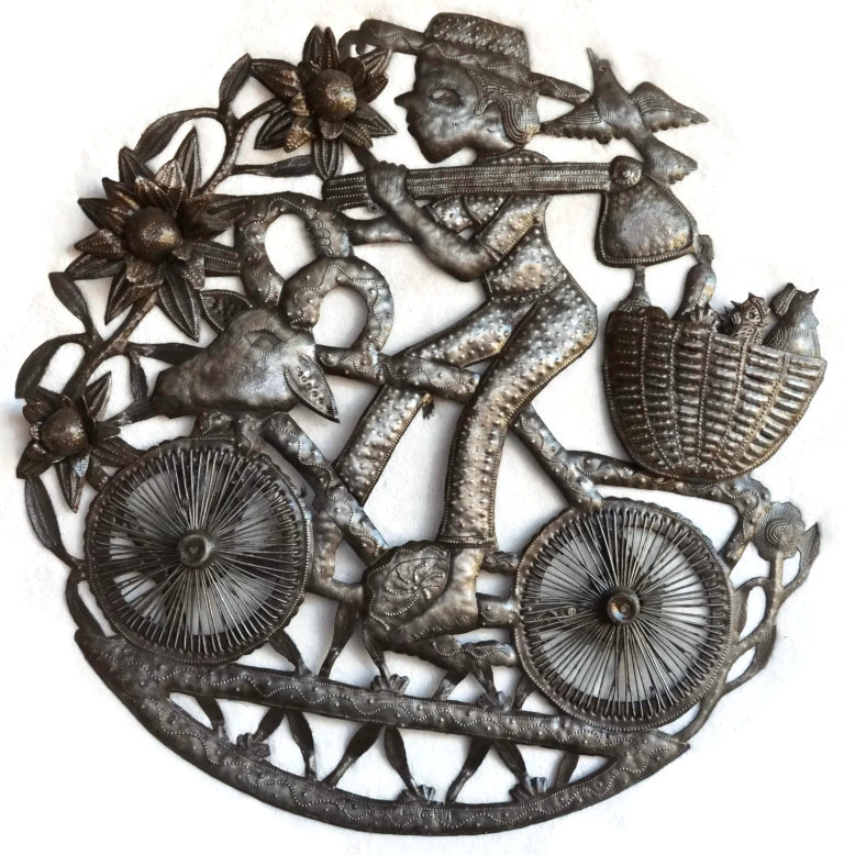 haitian metal art recylced wall art farmer boy riding bike croix