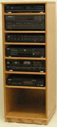 """Modern Component Stereo Cabinet 53"""" High Oak Maple FREE ..."""