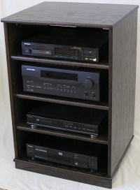 Ebony oak wooden TV stand stereo component cabinet by ...