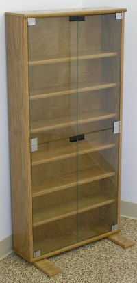 DVD bookcase with glass doors in oak or maple by Decibel ...