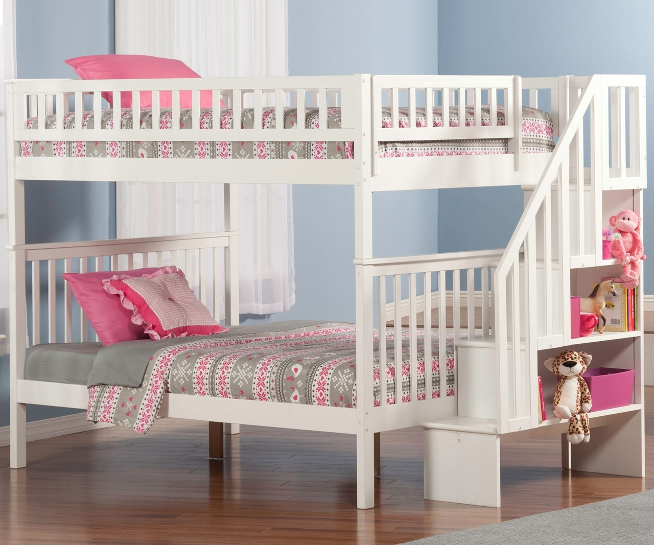 Woodland Full Over Full Stair Bunk Bed AB56802 Atlantic