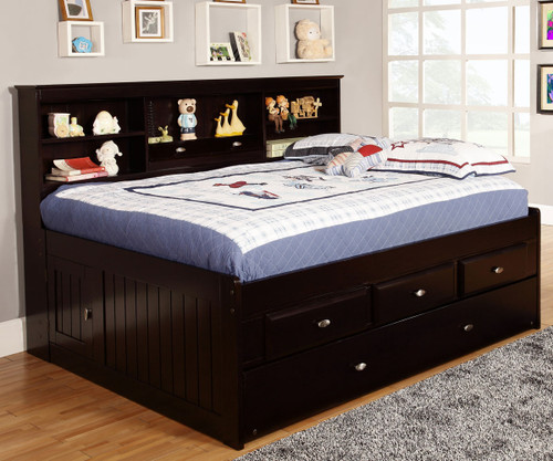 Espresso Full Size Bookcase Captains Day Bed With Trundle