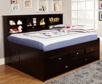 Espresso Full Size Bookcase Captain's Day Bed with Trundle ...