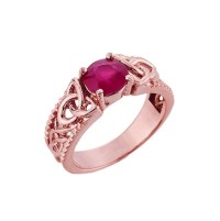 Rose Gold Celtic Knot Ruby Gemstone Ring