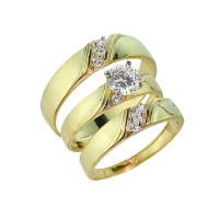 3-Piece Gold CZ Wedding Ring Set | Engagement Ring ...