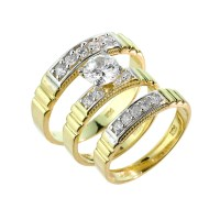 Gold CZ Wedding Ring Set (3