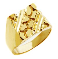 Men's Gold Nugget Rings - The King Solid Gold Nugget Ring