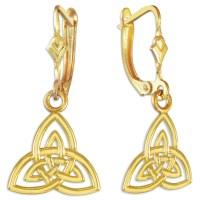 Gold Irish Celtic Trinity Earrings