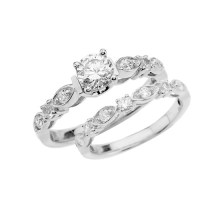 White Gold Wedding Ring Set With Cubic Zirconia