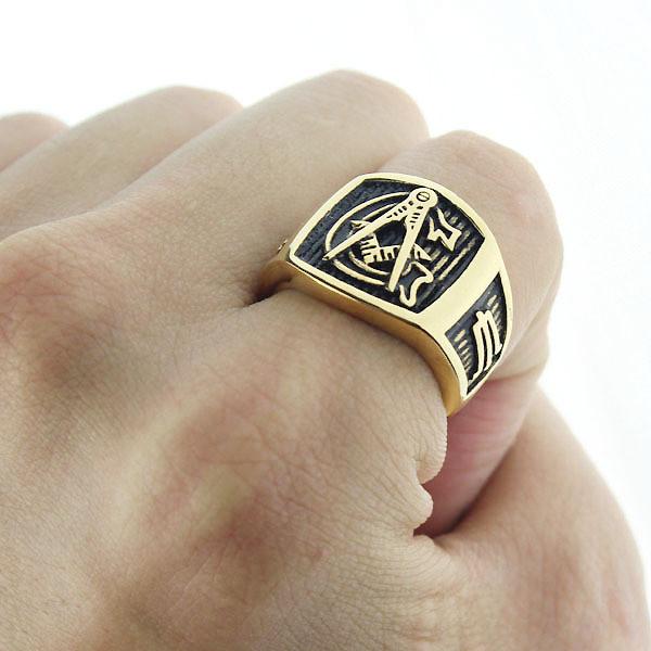 Masonic rings ebay Freemason Ring. Gold Plated Steel G