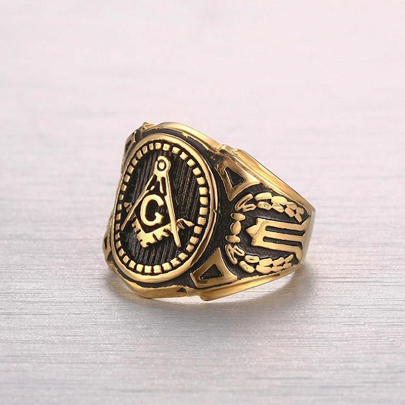 Masonic Rings Gold Color Freemason Ring - Stainless