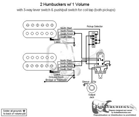 guitar wiring diagram 2 pickup 1 volume tone human life cycle stages diagrams free for you humbuckers 3 way lever switch coil tap split rail