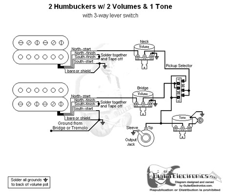 Solder Emg 89 Wiring Diagram 2 Humbuckers 3 Way Lever Switch 2 Volumes 1 Tone