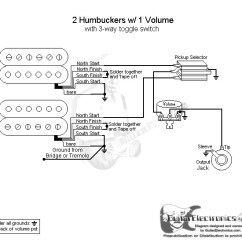 Guitar Wiring Diagrams 1 Pickup No Volume 3 Phase Diagram 2 Humbuckers/3-way Toggle Switch/1