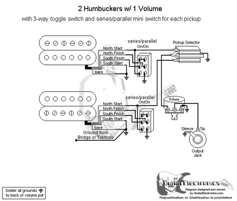 2 Humbuckers3Way Toggle Switch1 VolumeSeries Parallel
