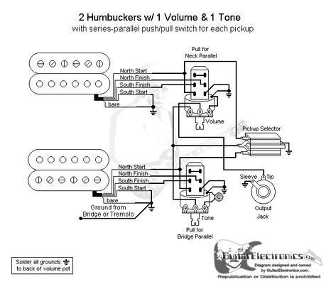 guitar wiring diagrams 2 humbucker 3 way toggle switch carrier air conditioner capacitor diagram humbuckers/3-way switch/1 volume/1 tone/series parallel