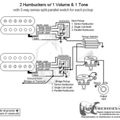 Wiring Diagrams For Guitar Humbuckers 1 Humbucker Single Coil 2 Humbuckers/3-way Toggle Switch/1 Volume/1 Tone/series-split-parallel