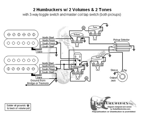 Humbuckers 3 Way Toggle Switch 2 Volumes 2 Tones Coil Tap