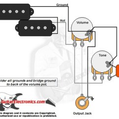 2 Humbucker 1 Volume Tone Wiring Diagram Owl Anatomy P-bass Style