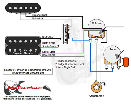 guitar wiring diagrams 2 humbucker 3 way toggle switch 460 ford jet boat diagram 1 humbucker/1 single coil/3-way lever switch/1 volume/1 tone/00 - guitarelectronics.com