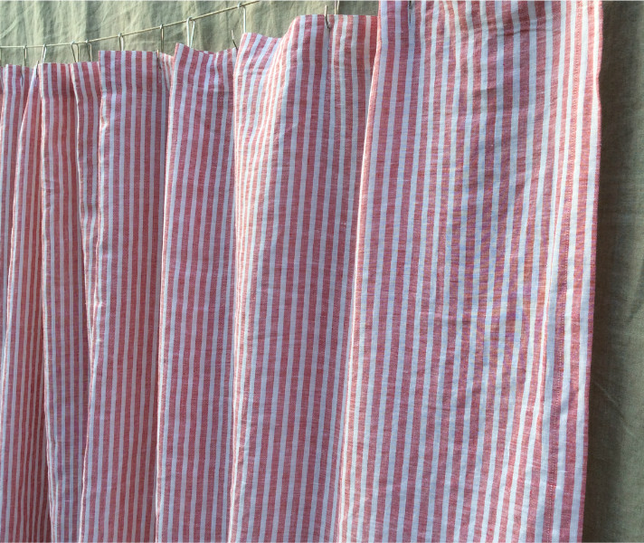White And Red Ticking Stripe Shower Curtain Handcrafted By