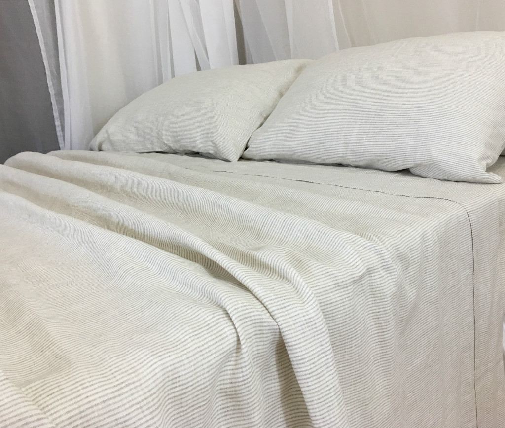 Natural Linen Ticking Striped Bed Sheets Set | Handcrafted By Superior  Custom Linens