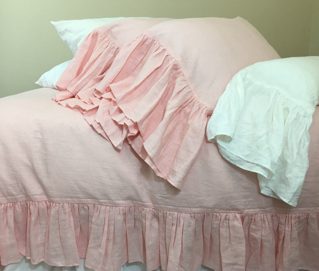 Pink Linen Pillow Cases with Mermaid Long Ruffles